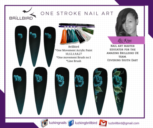 One stroke nail art by Luz King. facebook-luzkingbrillbird (10)